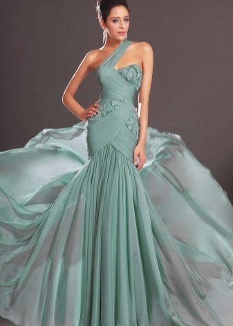 Summer evening dress green with lace
