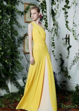 Dress evening yellow with a white insert