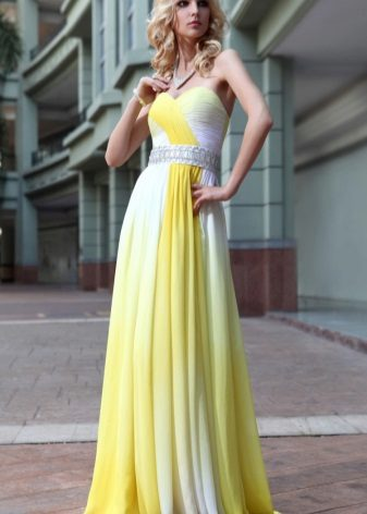 White and yellow evening dress