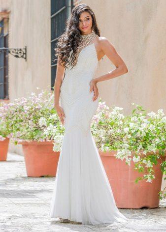 Vestido de noite branco para o chão é barato