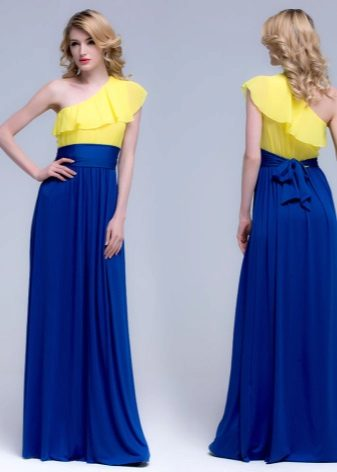 Yellow and blue evening dress