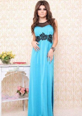 Vestido azul com preto