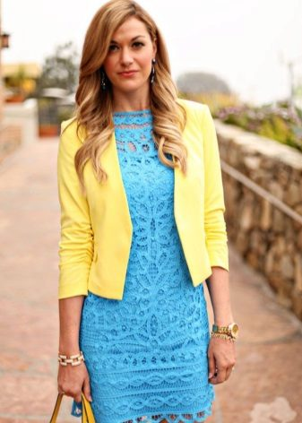 Gold accessories for blue dress