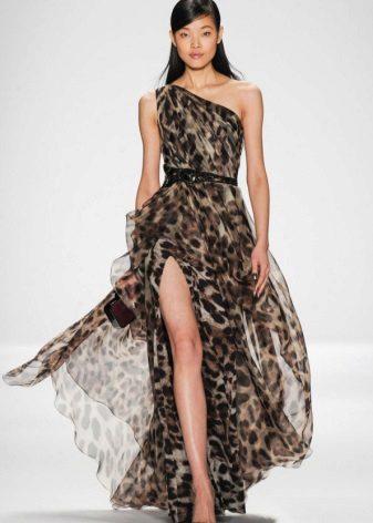 Siyah leopar elbise