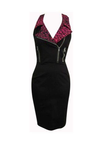 Kırmızı leopar yakalı, siyah elbise desenli