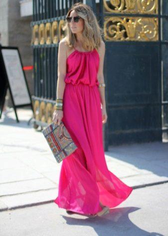 Summer long dress fuchsia