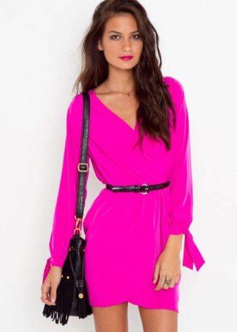 Fuchsia Short Dress with Long Sleeves