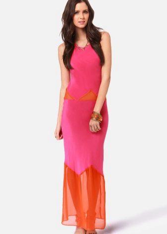 Fuchsia dress in combination with orange