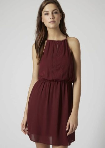 Marsala-sifonki lyhyt mekko