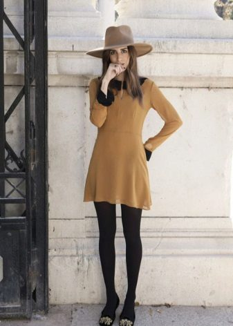 Mustard dress with black tights