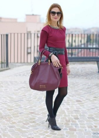 Crimson dress in a combination of other shades