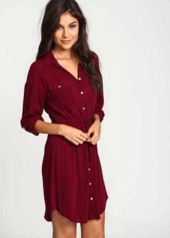 Mini length everyday dress wine color