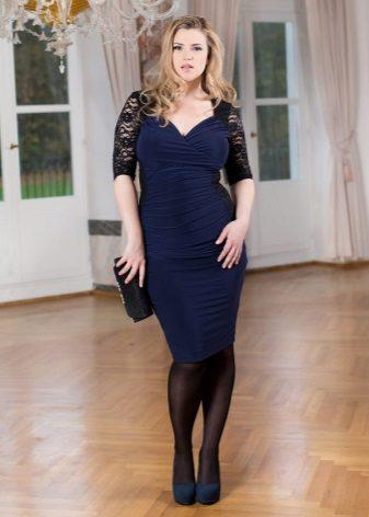 Tam kızlar için koyu mavi elbise çorap