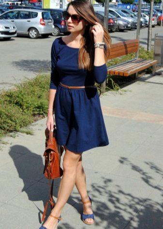 Koyu mavi mini boy elbise