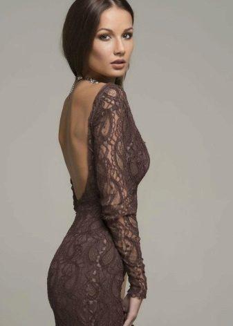 Guipure brun kjole med hals