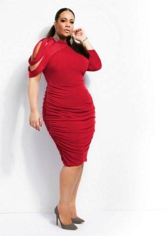 Mid-rise rode jurk voor vrouwen met overgewicht