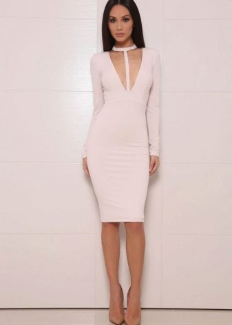 Dress milk color-fitted silhouette of medium length