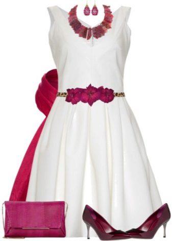 Milk dress and burgundy accessories