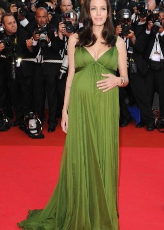 Elegante groene jurk voor zwangere vrouwen