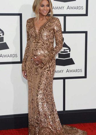 Elegante briljante jurk in een vloer met V-hals voor zwangere vrouwen