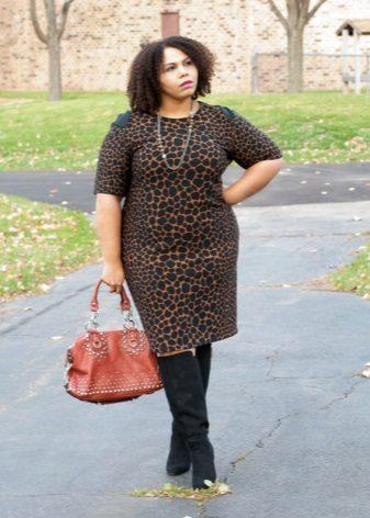 Suede zwarte panterjurk voor vrouwen met overgewicht