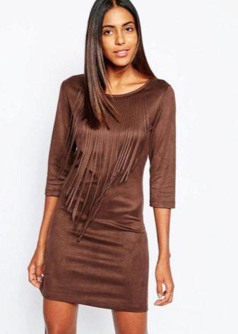 Vestido de camurça curta de chocolate