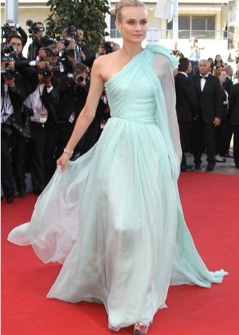Mint dress to the floor on one shoulder