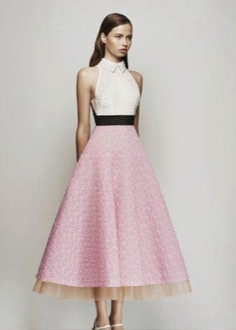 Roz rochie cu top alb