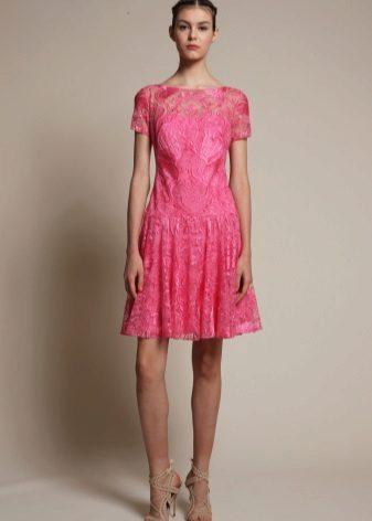 Rochie de dantelă roz roz