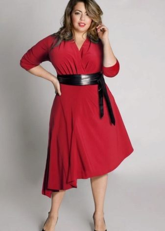 Vestit de punt vermell A-line per a dones obeses