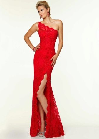 Red asymmetrical one-shoulder dress