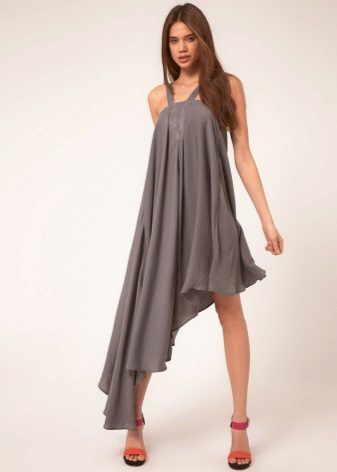 Dress with asymmetrical skirt