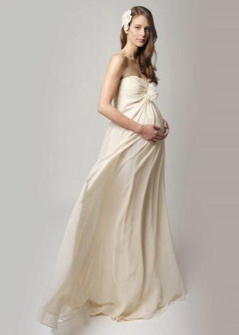 Zuivel lange jurk voor zwangere vrouwen
