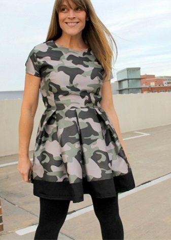 Kabarık etekli kamuflaj elbise