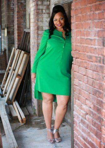 Vestit verd amb màniga llarga i faldilla asimètrica per a dones obeses