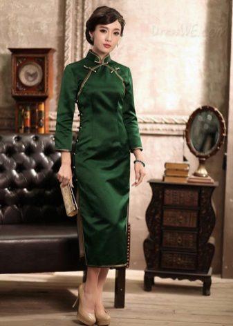 ירוק שמלה- cipao אורך midi עם צד חריצים