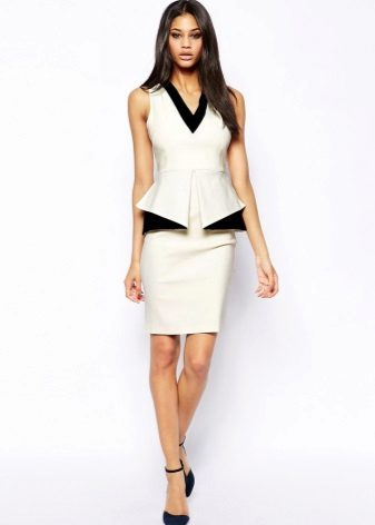 White Sheath Dress with Basque Sleeveless