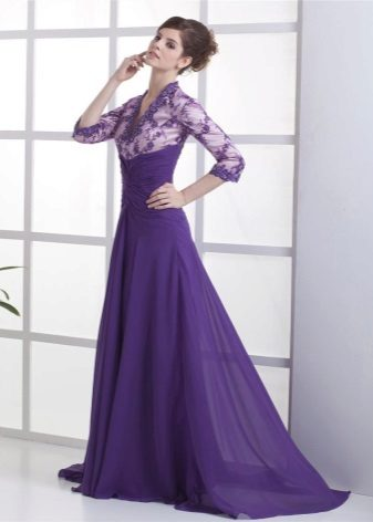 Dress with open neckline and train