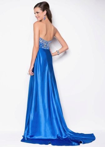 Blue satin dress with a train