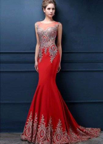 Red evening dress with a train