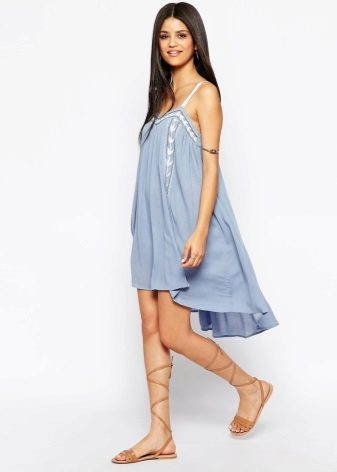 Blue A-line Dress with Embroidery