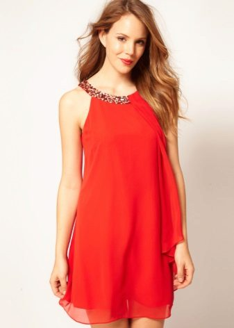 Red A-line Dress with American Armhole