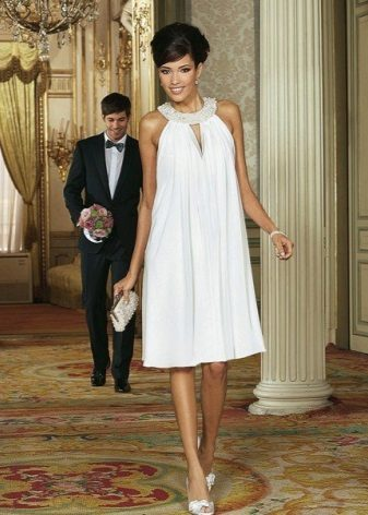 White A-line Dress with American Armhole