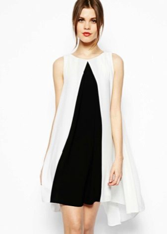 White and black A-line dress