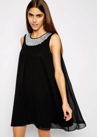 Avond zwarte jurk A-lijn