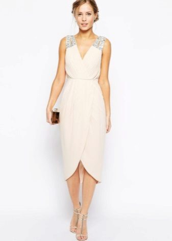 Beige Tulip Midi Dress