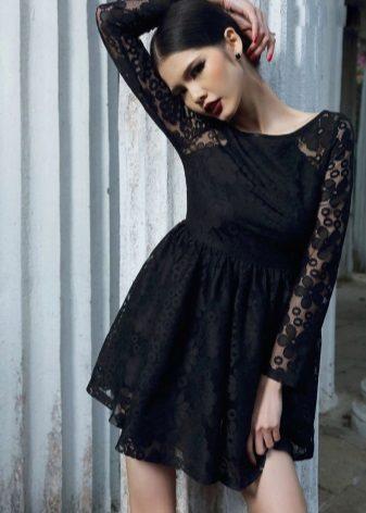 Black lace dress with high waist