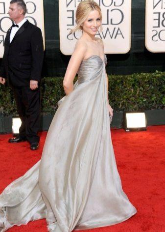 Grå silke lang kjole med høy midje