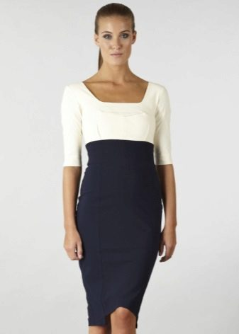 Two-tone dress with a high waist - office option