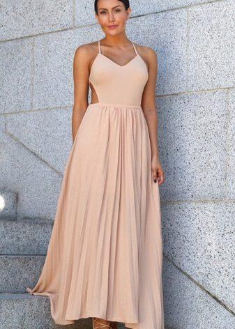 אפרסק ארוך שמלה מקופלת
